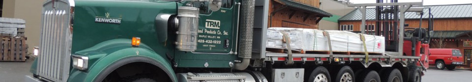 TRM Wood Products delivery truck with forklift